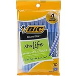 Bic Round Stic Ball Pen 10 Pack (Black or Blue Ink)